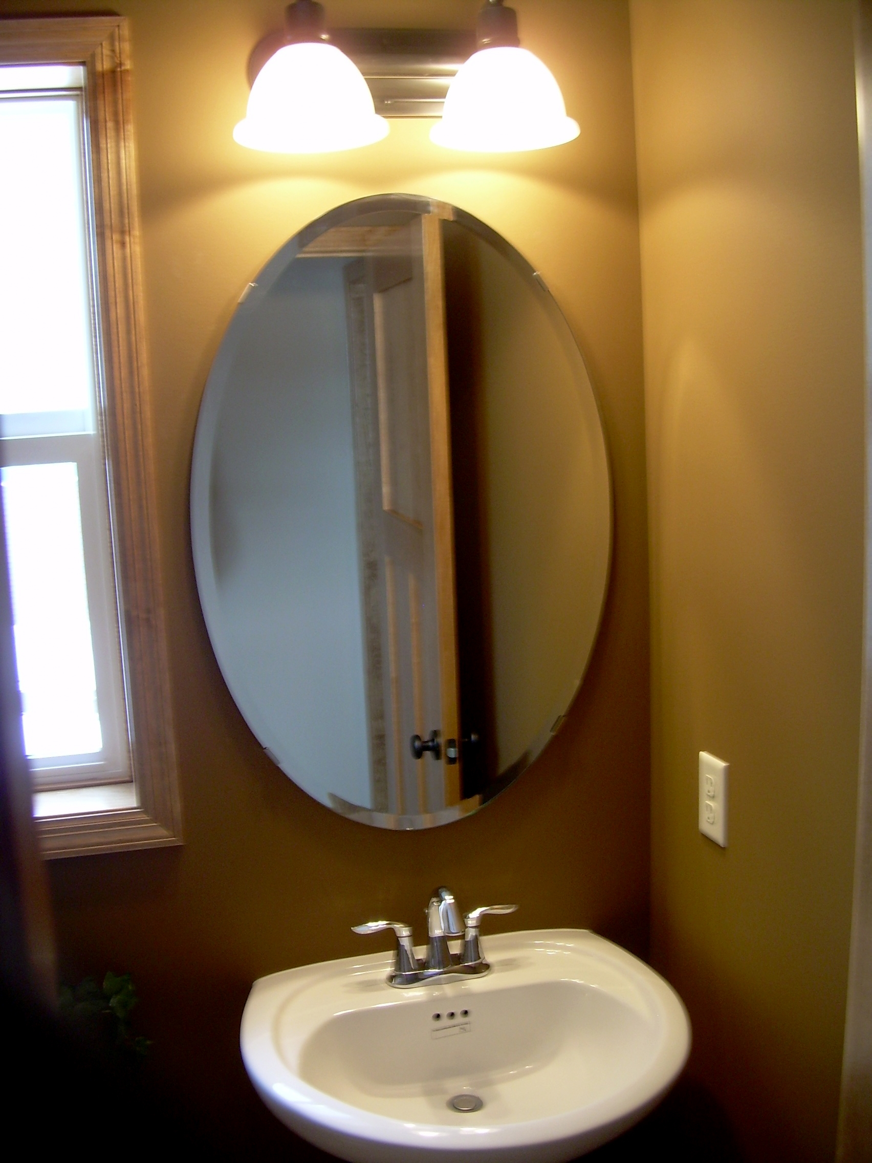 White Framed Oval Bathroom Mirror Creative Bathroom Decoration For White Oval Bathroom Mirror (Image 14 of 15)