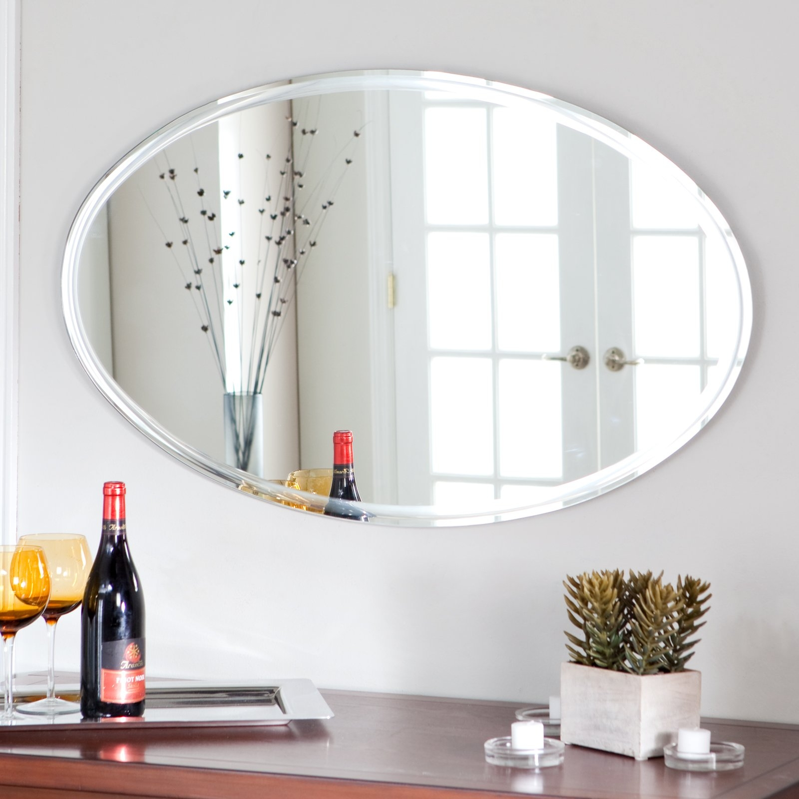 White Framed Oval Bathroom Mirror Creative Bathroom Decoration Intended For White Oval Bathroom Mirror (Image 15 of 15)