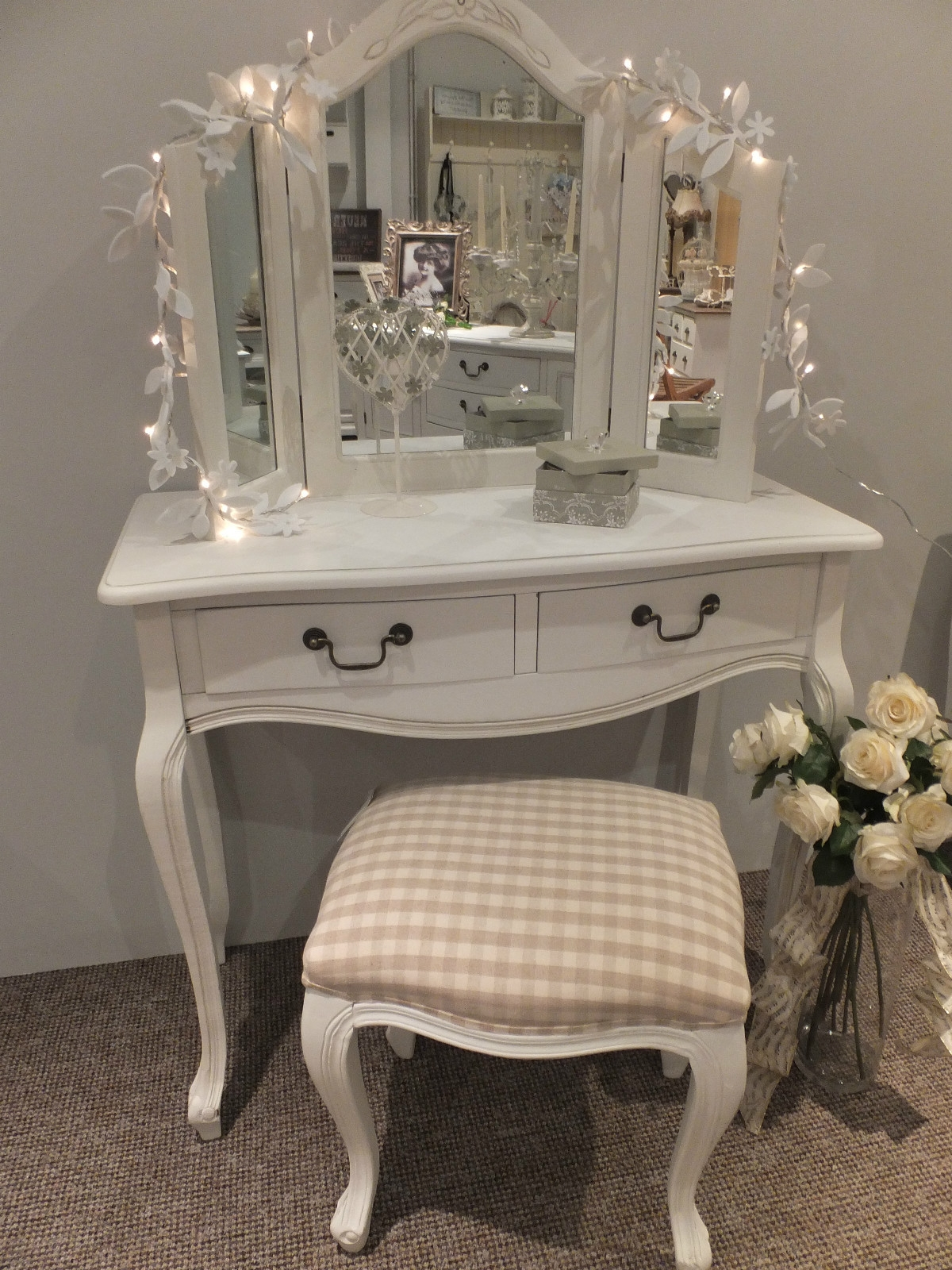 White French Style Dressing Table With 3 Way Mirror Pertaining To French Style Dressing Table Mirror (Image 15 of 15)