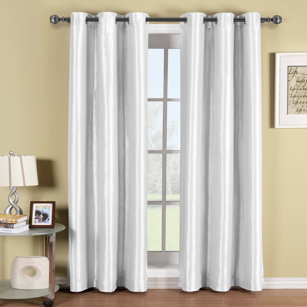 White Grommet Blackout Curtains Canada Business For Curtains With White Opaque Curtains (Image 15 of 15)