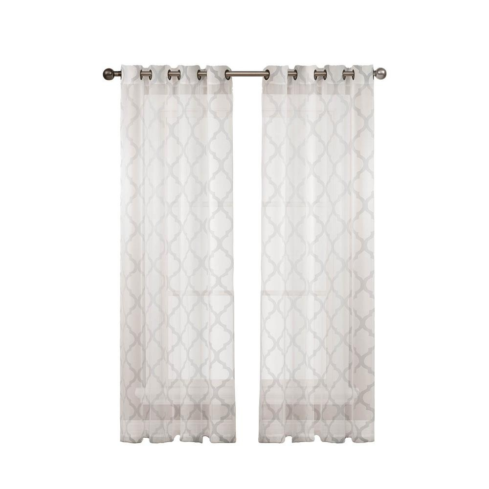 White Grommet Sheer Curtains Drapes Window Treatments For White Sheer Cotton Curtains (Image 14 of 15)