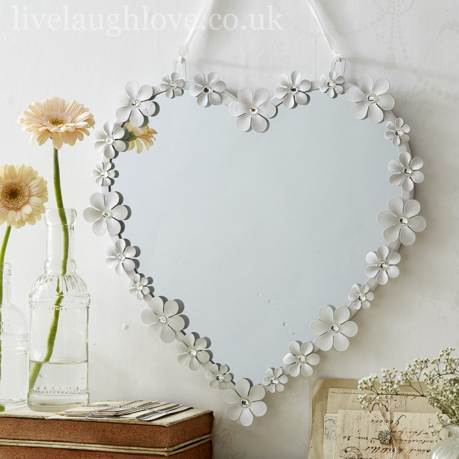 White Metal Daisy Heart Mirror With Diamante Live Laugh Love Within Heart Wall Mirror (Image 13 of 15)