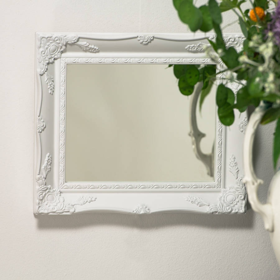 White Ornate French Mirror Hand Crafted Mirrors In White Ornate Mirror (Image 13 of 15)
