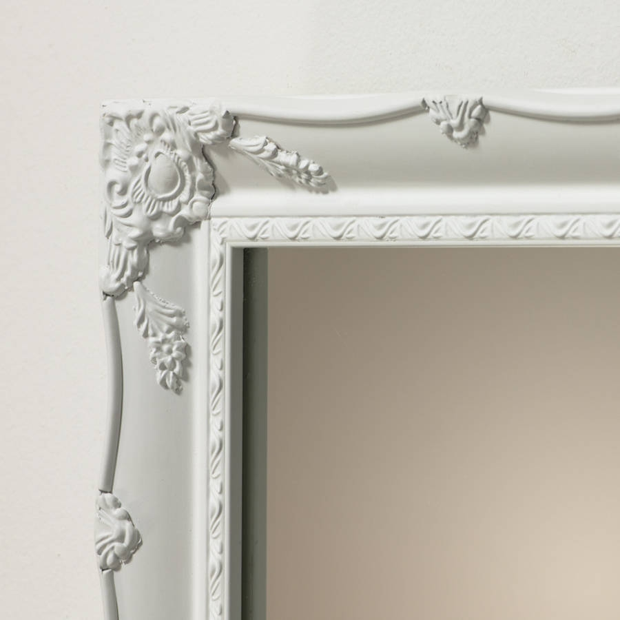 White Ornate French Mirror Hand Crafted Mirrors Regarding French White Mirror (Image 15 of 15)