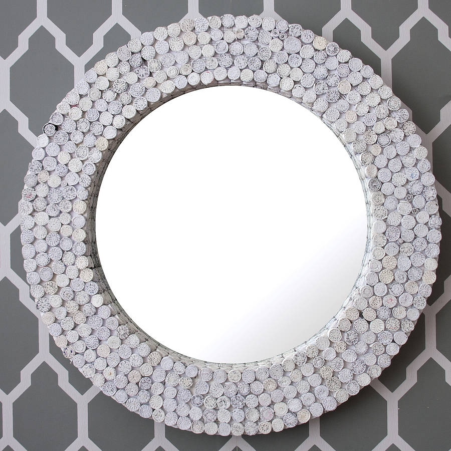 White Round Recycled Mirror Decorative Mirrors Online With Round Mirrors For Sale (Image 14 of 15)