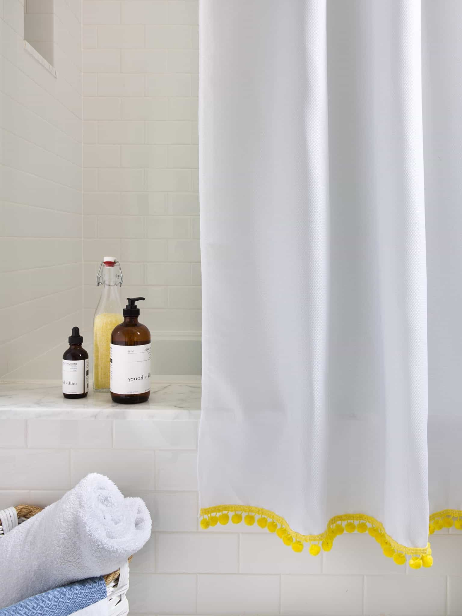 White Shower Curtain With Bright Yellow Trim (View 4 of 14)