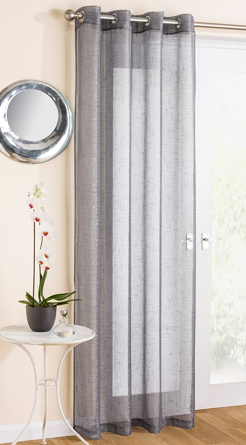 White Sparkle Voile Curtain Panel Eyelet Heading 54 Wide X 108 Regarding Extra Long Voile Curtains (Image 14 of 15)