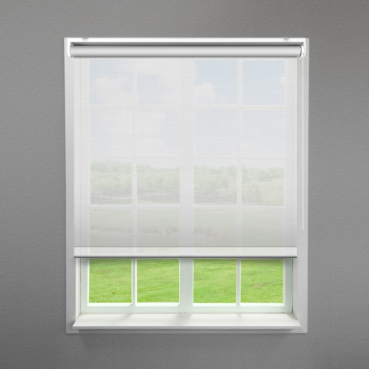 White Tulle Sheer Roller Blind Blinds4value Regarding Sheer Roller Blind (View 2 of 15)