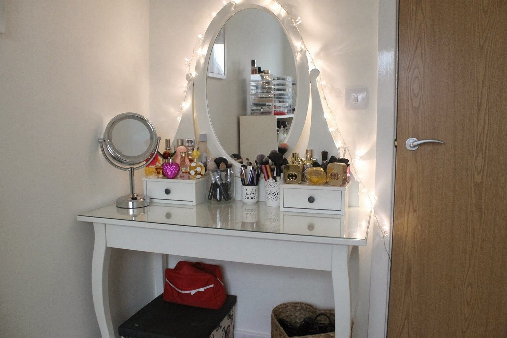 White Vanity Table With Mirror Bathroom Mirror Useful Drawers Look Within Funky Bathroom Mirror (Image 15 of 15)
