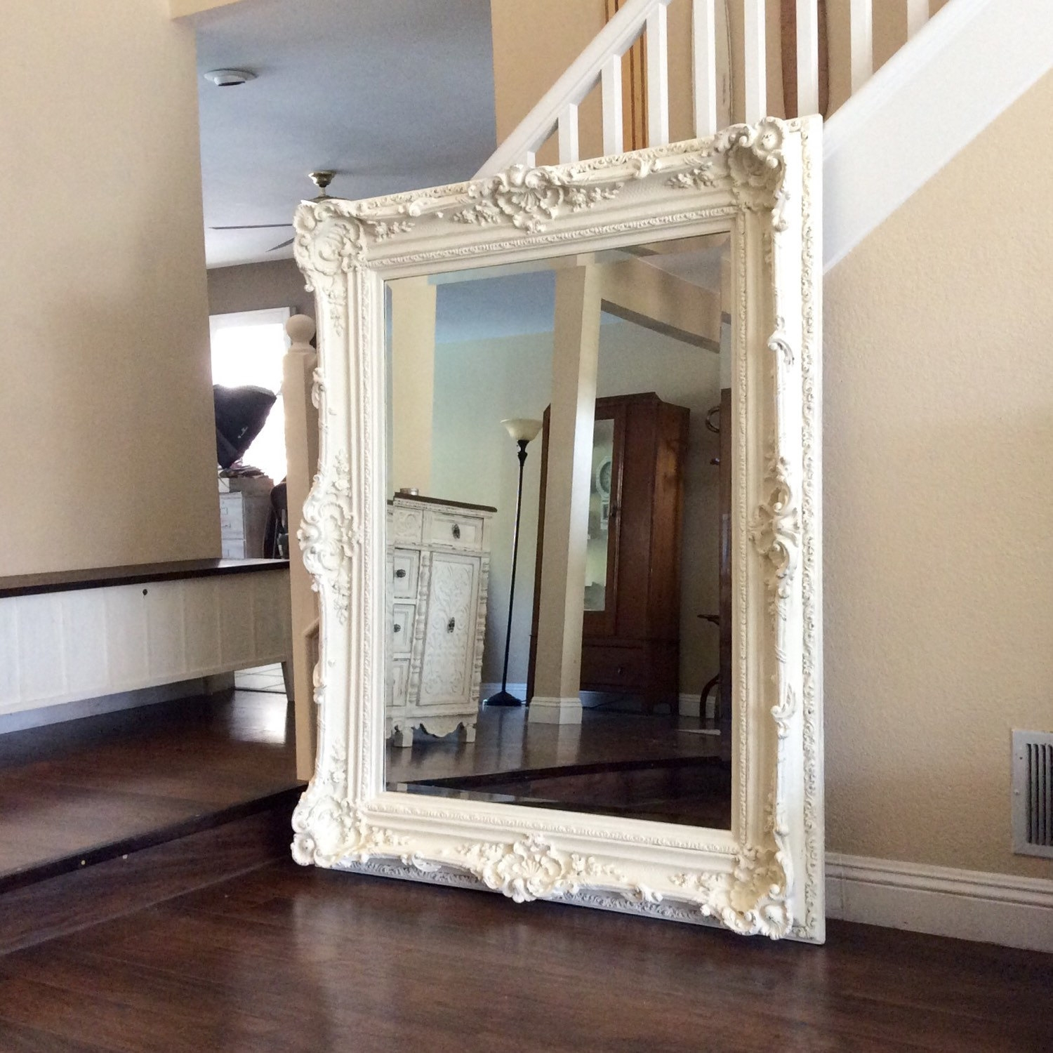 White Wall Mirror Amazoncom Decorative Oval Wall Mirror White Throughout Large White Antique Mirror (View 9 of 15)