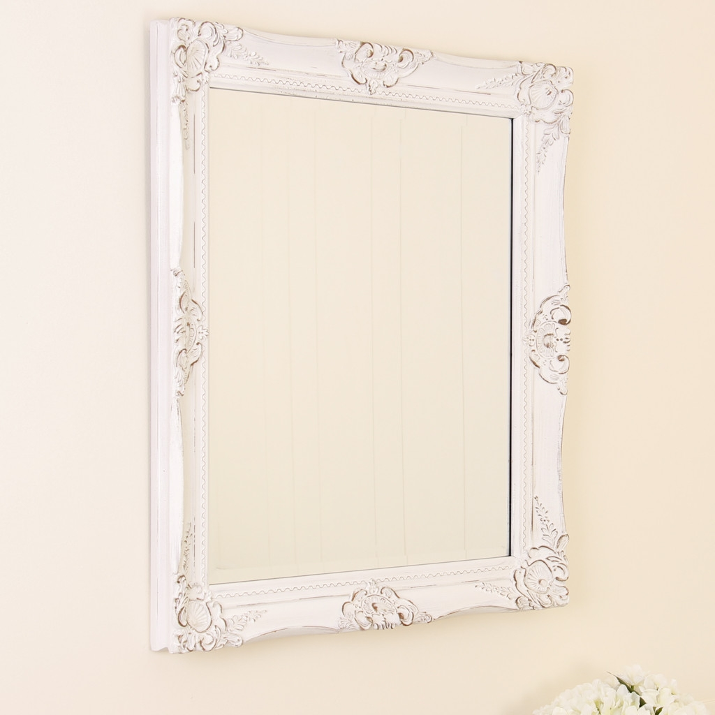 White Wooden Shab Chic Wall Mirror Inside Shabby Chic Wall Mirrors (Image 15 of 15)