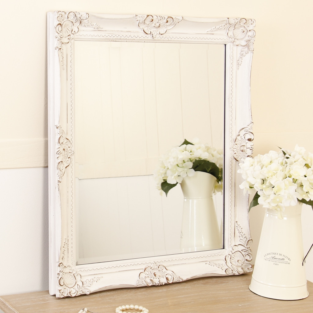 White Wooden Shab Chic Wall Mirror Intended For White Shabby Chic Wall Mirror (Image 14 of 15)