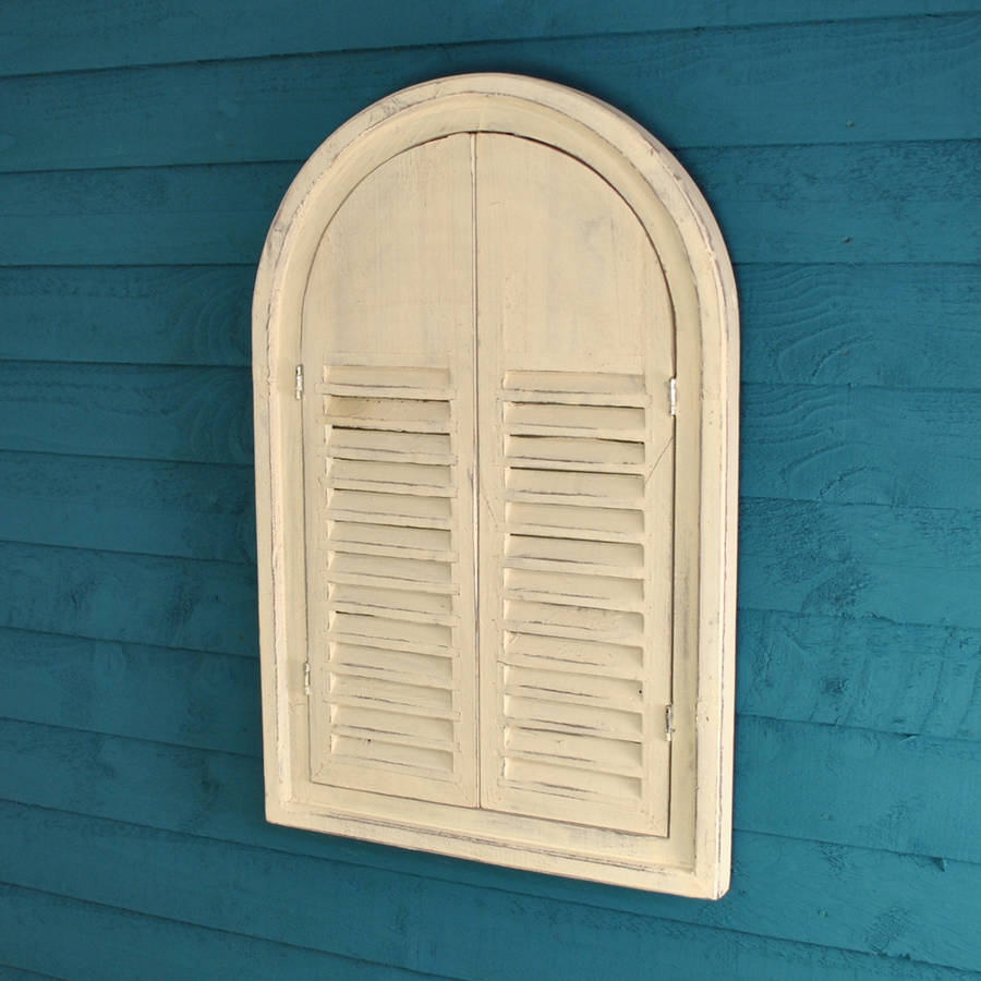 White Wooden Shutter Mirror Garden Selections Inside White Arch Mirror (Image 12 of 15)