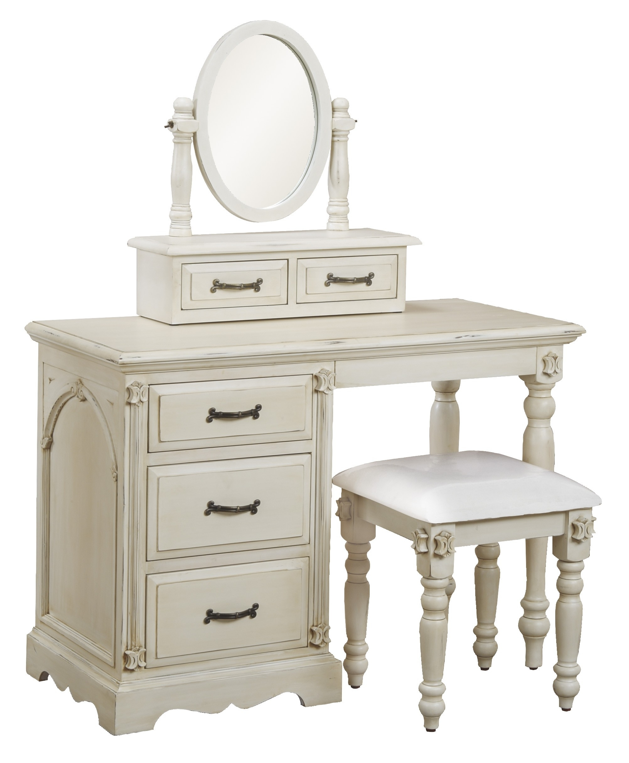 White Wooden Vanity With Drawers And Small Oval Mirror With White With Regard To Antique Small Mirrors (Image 15 of 15)