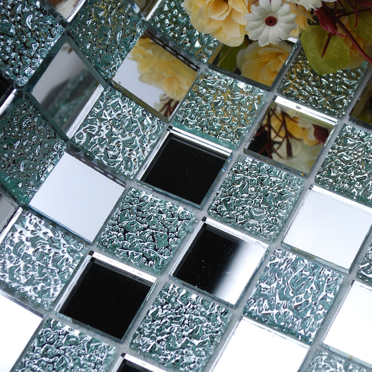 Wholesale Mirror Tile Squares Blue Bathroom Mirrored Wall Tile For Mosaic Wall Mirrors (Image 15 of 15)