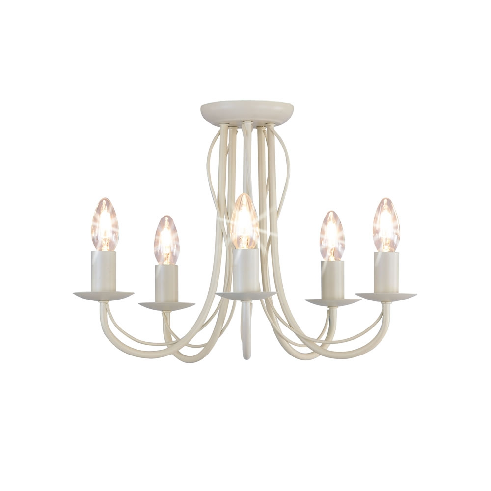 Wilko 5 Arm Chandelier Metal Ceiling Light Fitting Cream At Wilko Intended For Cream Chandelier (Image 15 of 15)