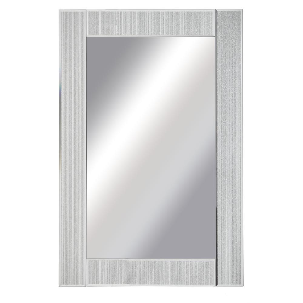Wilko Glitter Frame Mirror Large 60 X 90cm At Wilko Inside Silver Glitter Mirror (Image 15 of 15)
