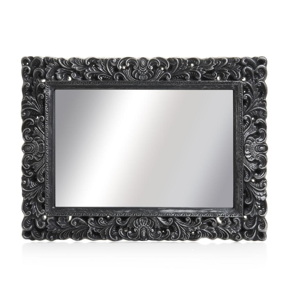 Wilko Ornate Mirror Large Black 60 X 80cm At Wilko In Ornate Black Mirror (Image 14 of 15)