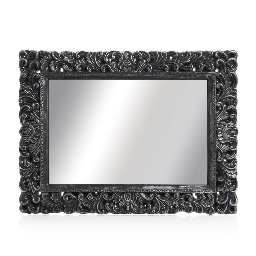 Wilko Ornate Mirror Large Black 60 X 80cm At Wilko Inside White Ornate Mirror (Image 14 of 15)