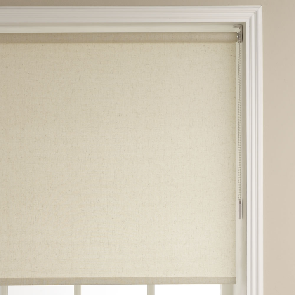 Wilko Roller Blind Linen Textured Effect 90cm Wide X 160cm Drop At Pertaining To Linen Roller Blind (Image 14 of 15)