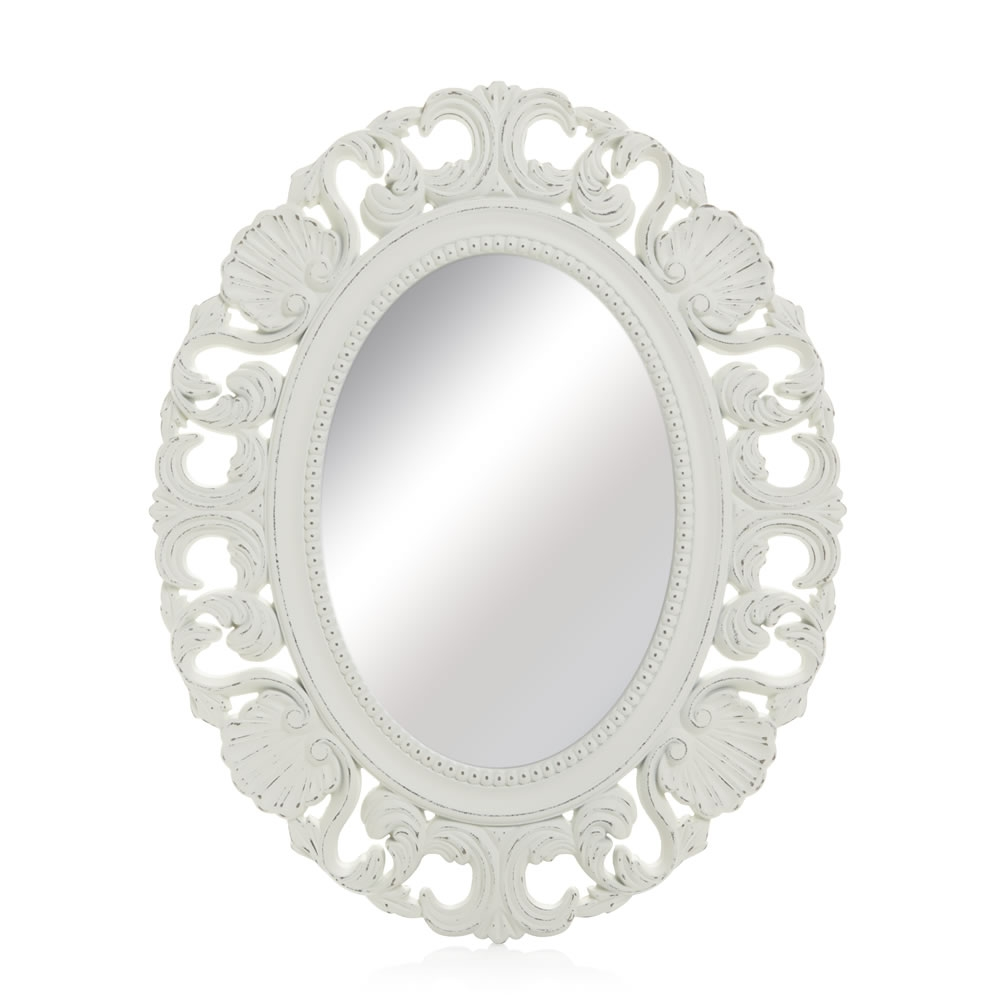 Wilko Vintage Ornate Oval Mirror 44 X 54cm At Wilko Within White Oval Mirror (Image 15 of 15)