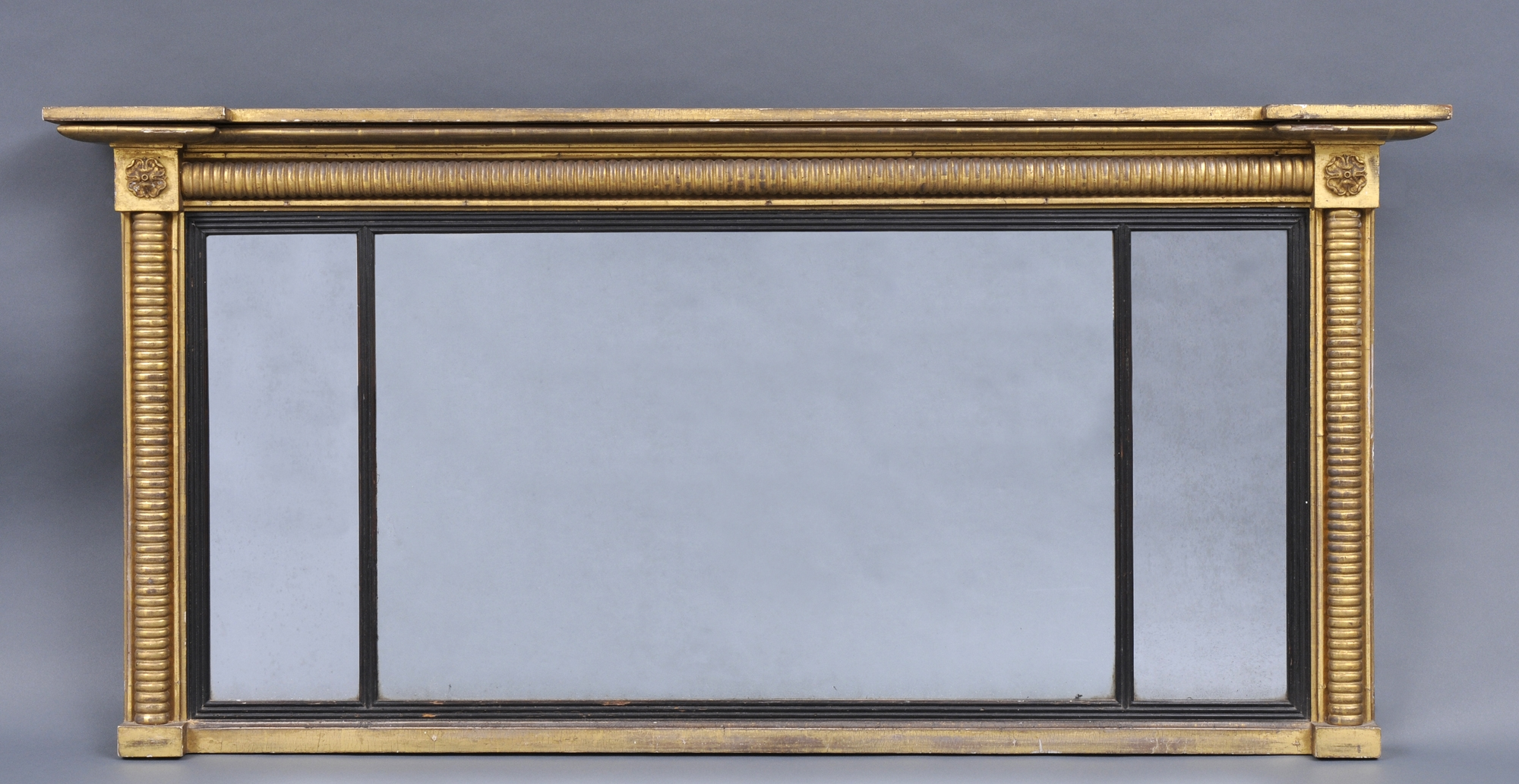 William Iv Antique Overmantle Mirror With Reeded Columns For Antique Overmantle Mirrors (Image 15 of 15)