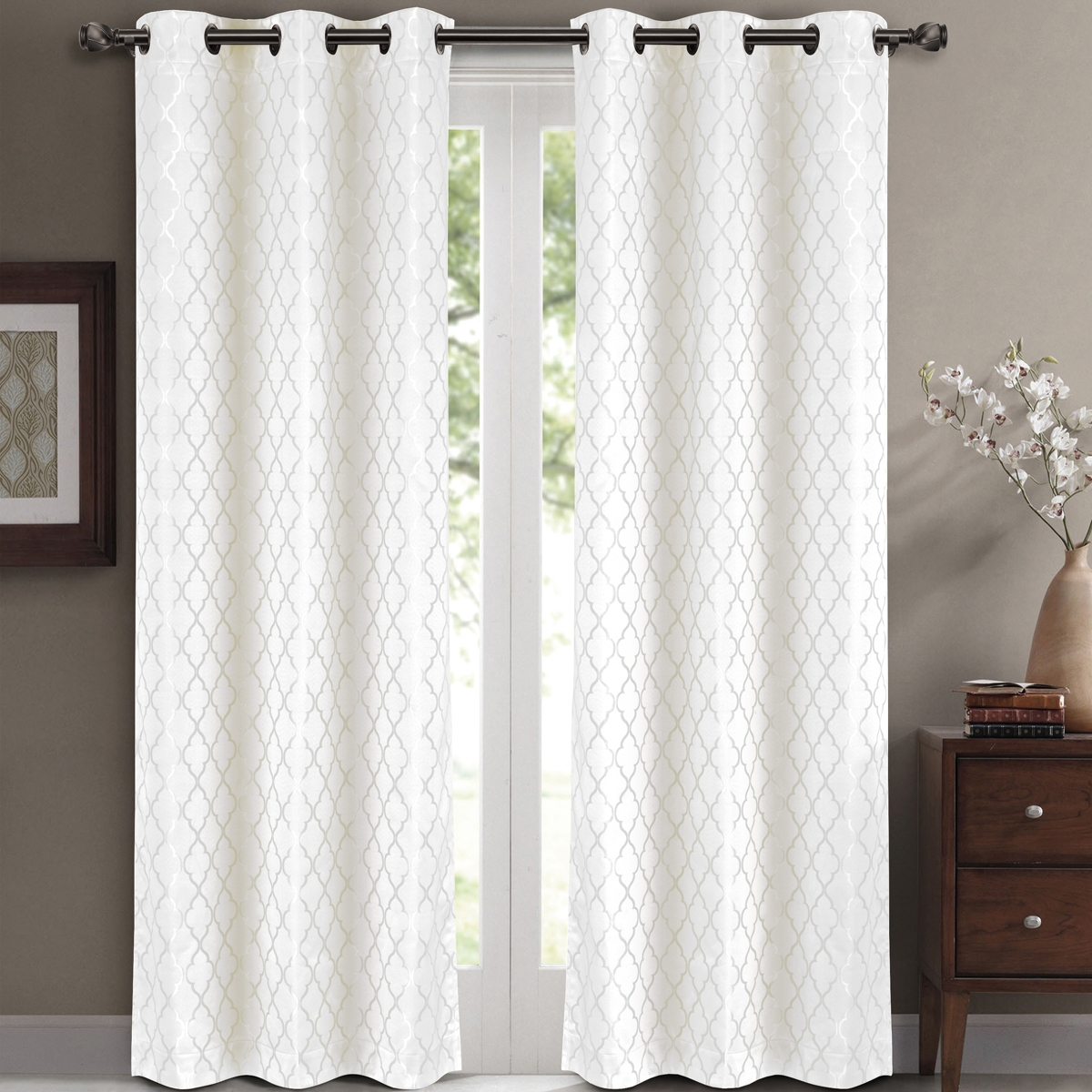 Willow Pair Set Of 2 Jacquard Blackout Thermal Insulated Window Throughout Thermal And Blackout Curtains (Image 15 of 15)