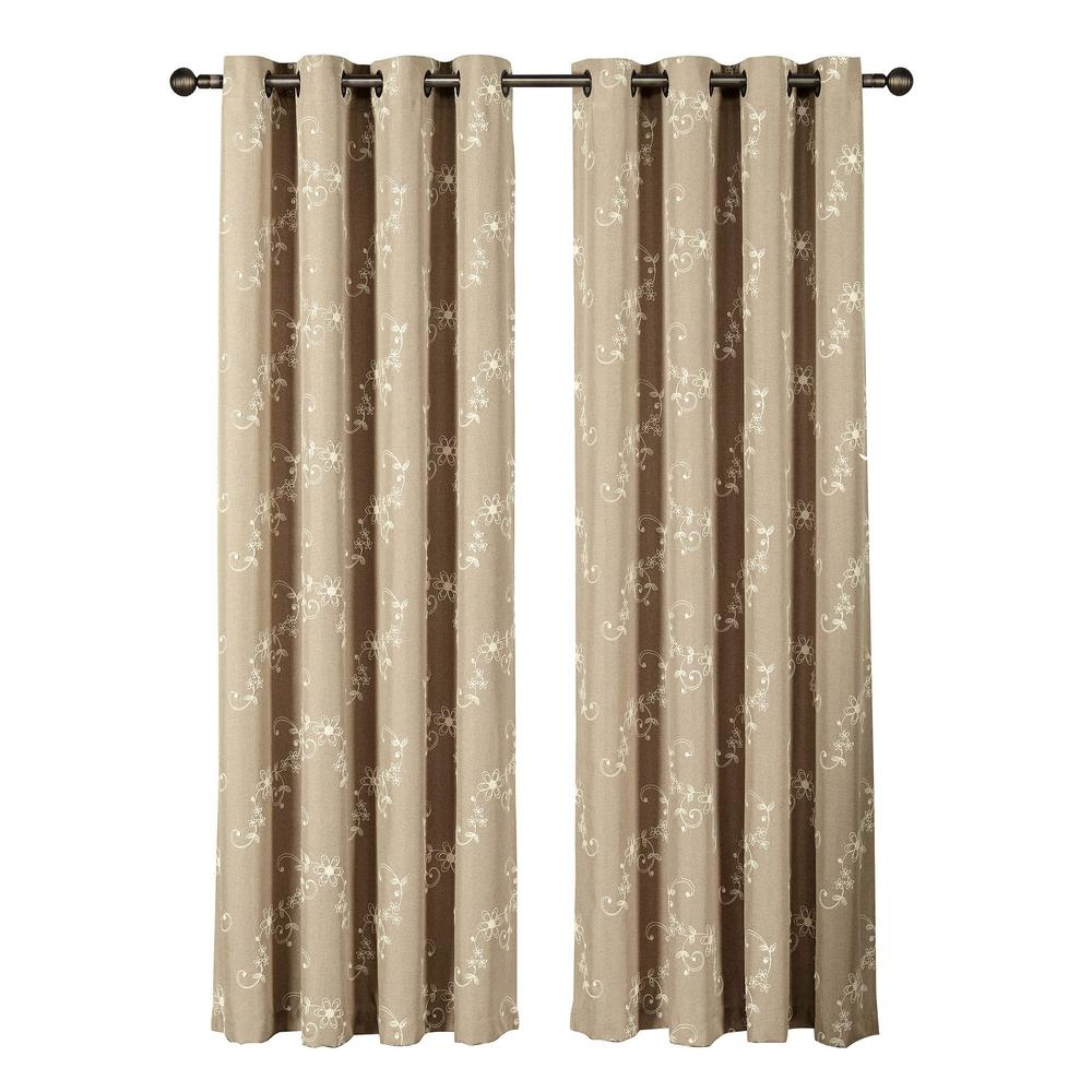 Window Elements Ashley Embroidered Faux Linen Extra Wide 84 In L Within Extra Wide Linen Curtains (View 7 of 15)