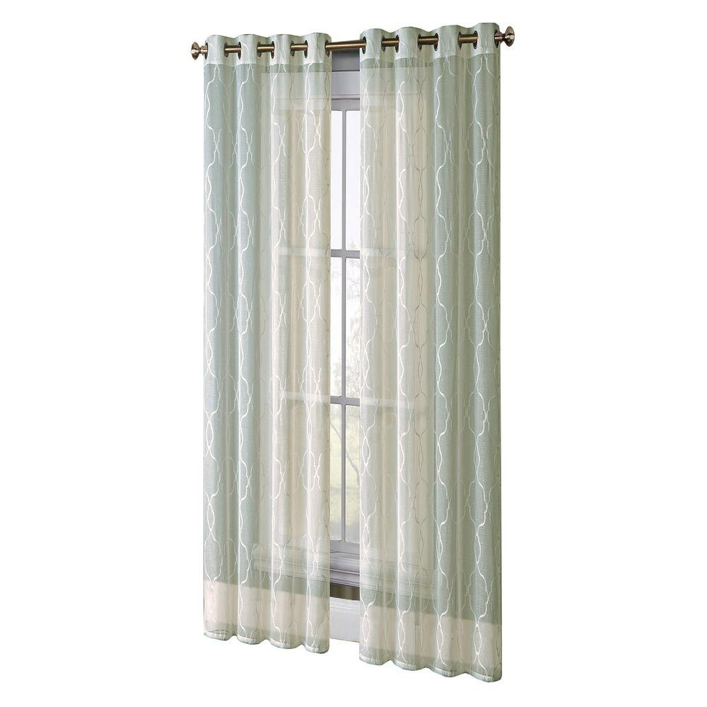Window Elements Boho Embroidered Sheer Faux Linen 96 In L Extra In Extra Wide Linen Curtains (View 2 of 15)