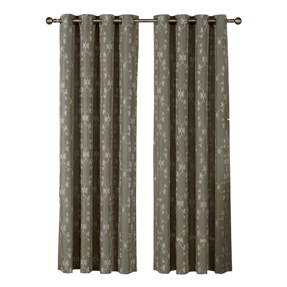 Window Elements Geo Gate Embroidered Faux Linen Extra Wide 84 In For Extra Wide Linen Curtains (View 8 of 15)