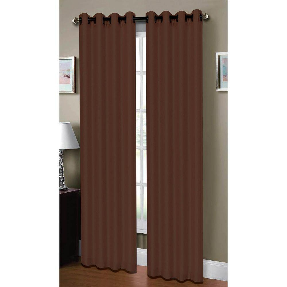 Window Elements Raphael Heathered Faux Linen Chocolate Grommet With Regard To Extra Wide Linen Curtains (View 12 of 15)