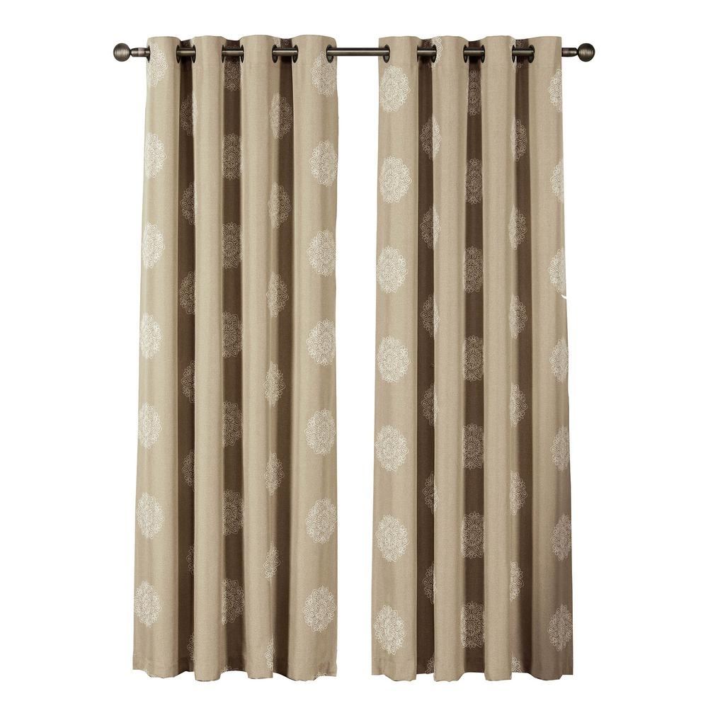 Window Elements Venice Embroidered Faux Linen Extra Wide 84 In L For Extra Wide Linen Curtains (Image 15 of 15)
