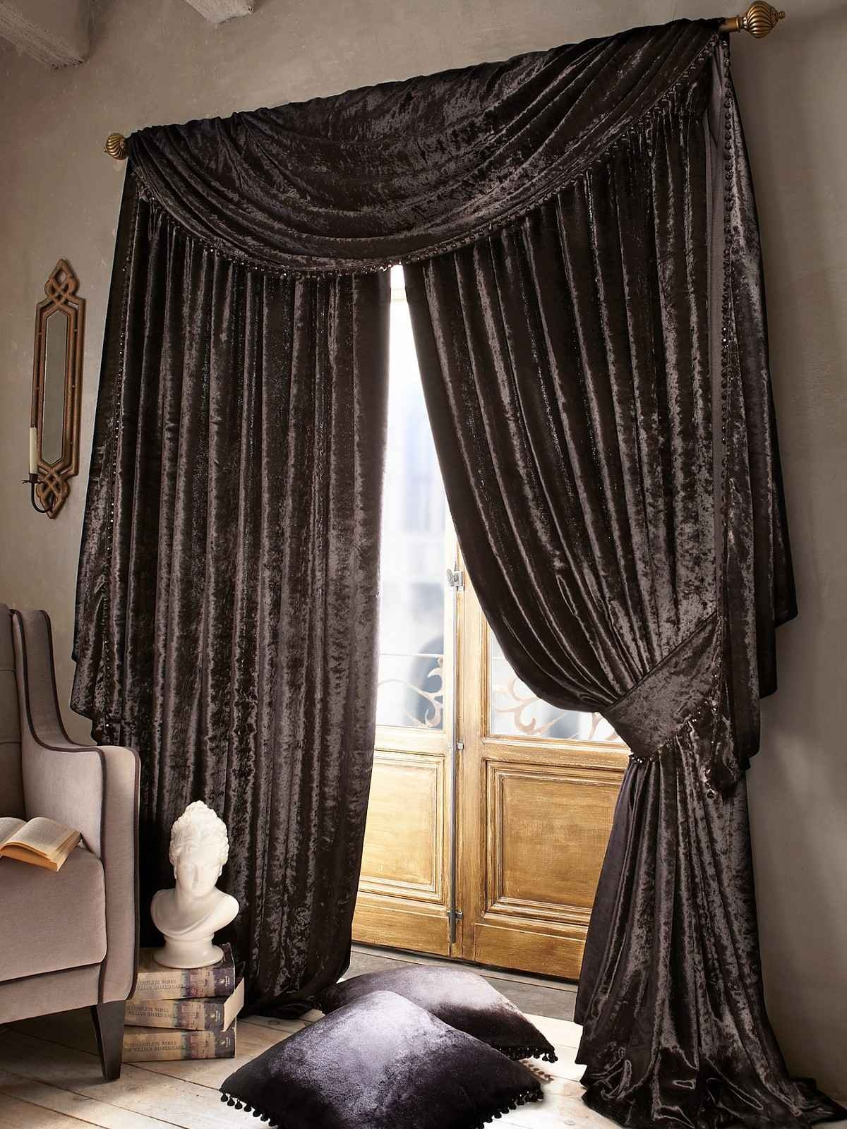 Window Treatments Curtain Ideas For Big Windows Brown White And In Dark Brown Velvet Curtains (Image 15 of 15)