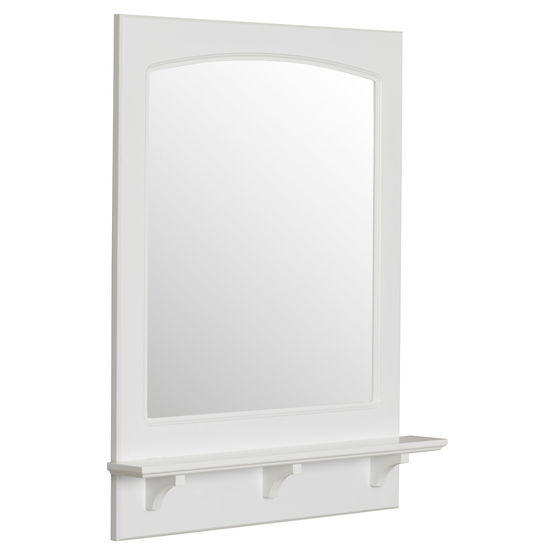 Winston Porter Rectangle White Wall Mirror With Shelf Reviews Intended For White Arch Mirror (Image 14 of 15)