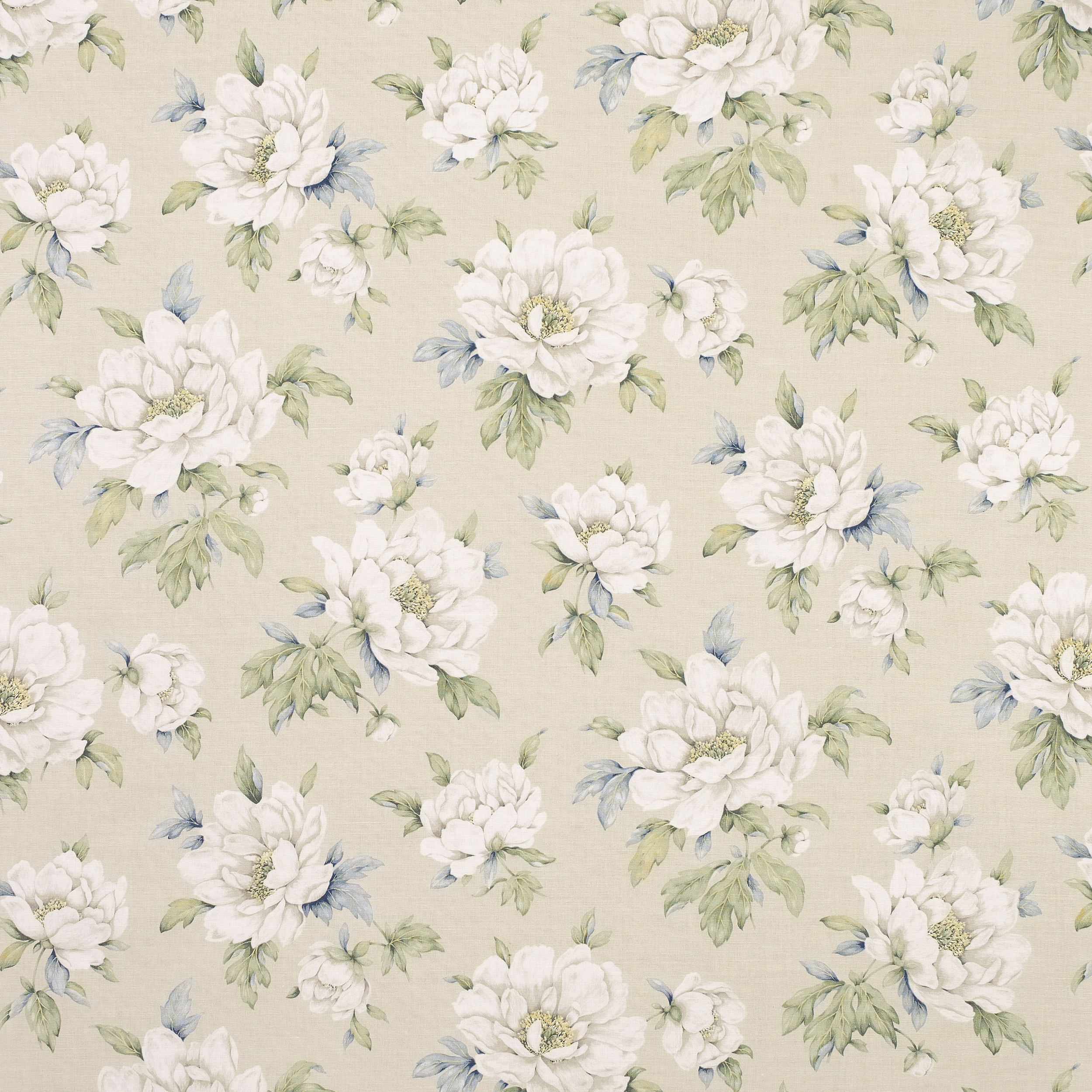 Wisley Natural Floral Linencotton Curtain Fabric Cotton Pertaining To Natural Fabric Curtain (Image 15 of 15)