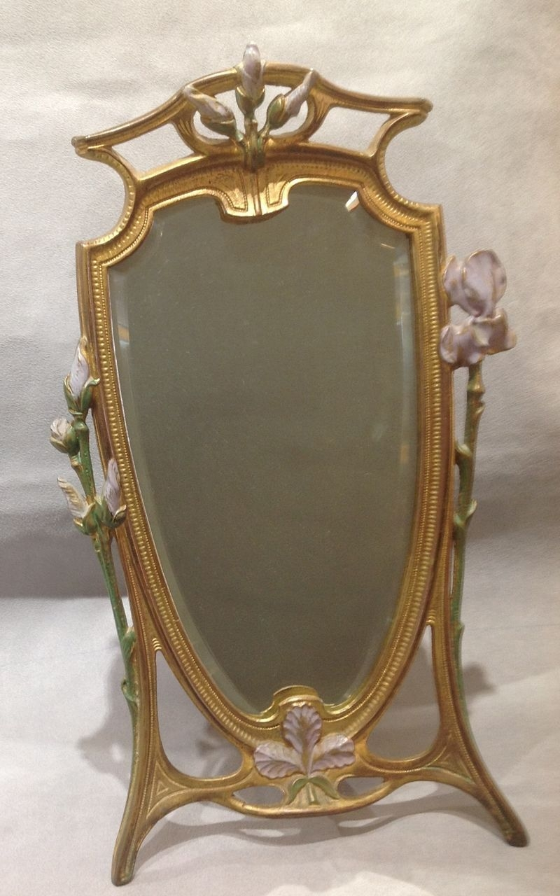 Wonderful Art Nouveau Dresser Mirror With Painted Flowers From Pertaining To Art Nouveau Mirrors (View 7 of 15)