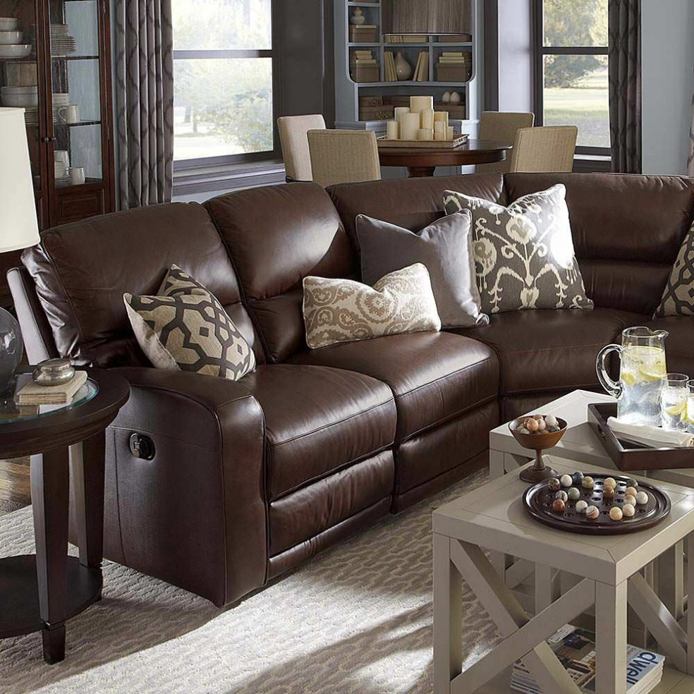 Wonderful Classic Style Dark Brown Leather Living Room Sectional For Classic Sectional Sofas (Image 15 of 15)