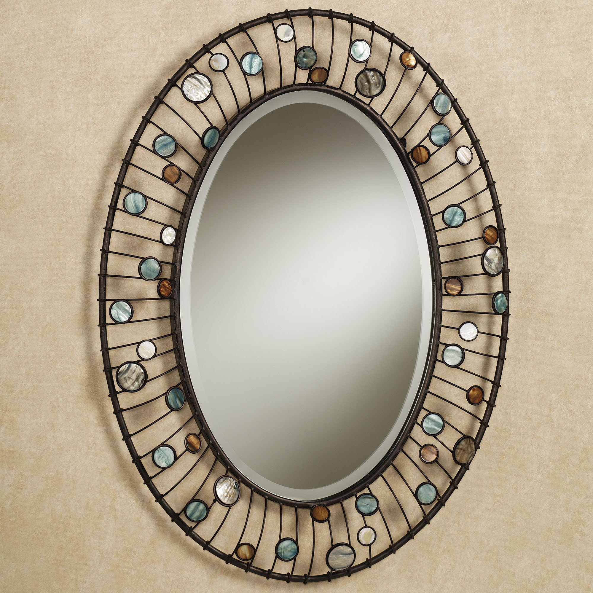 Wonderful Oval Shape Entryway Wall Mirrors With Iron Frames As Throughout Oval Mirrors For Walls (Image 15 of 15)