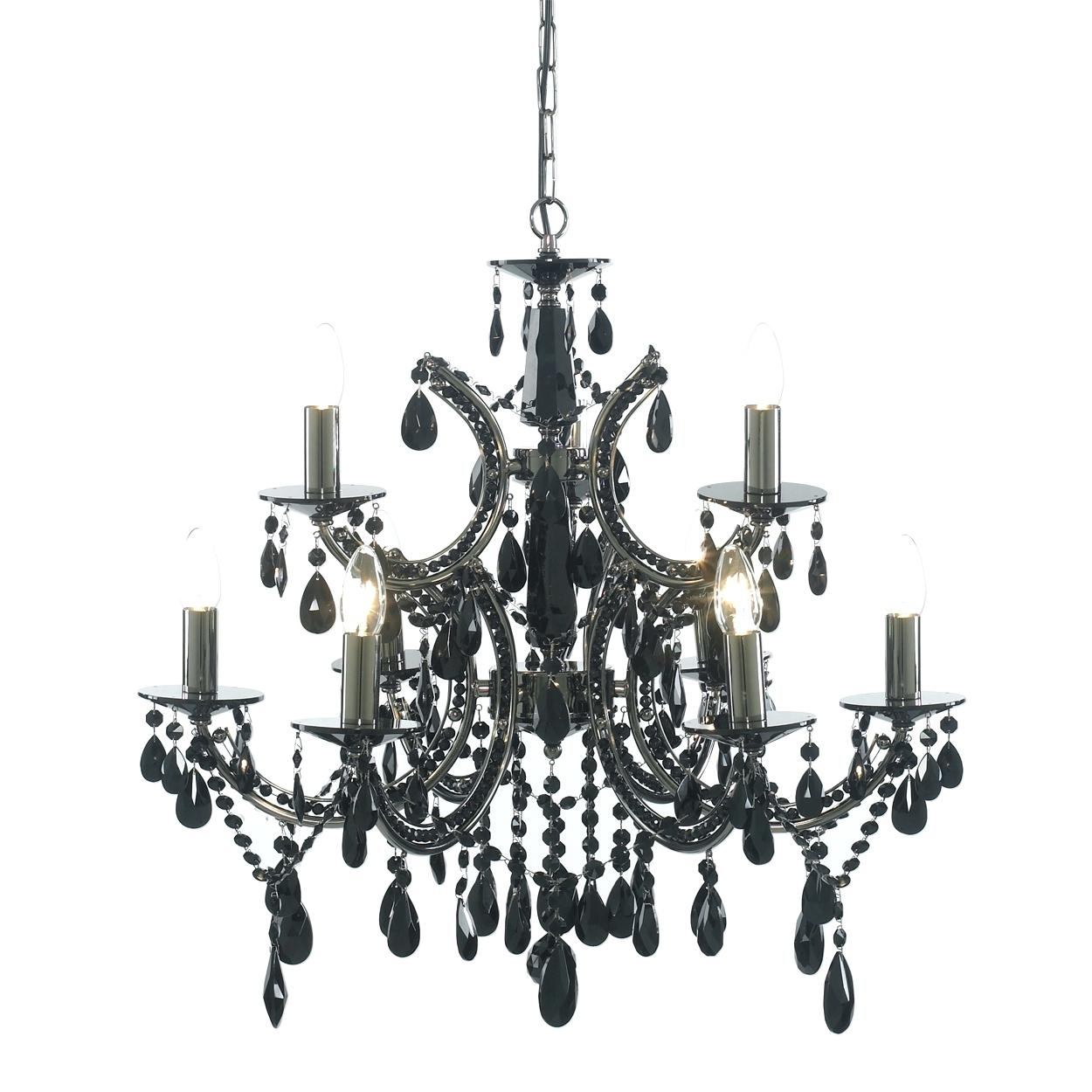 Wood And Iron Chandelier Mini Black Chandeliers With Crystals Pertaining To Contemporary Black Chandelier (Image 15 of 15)