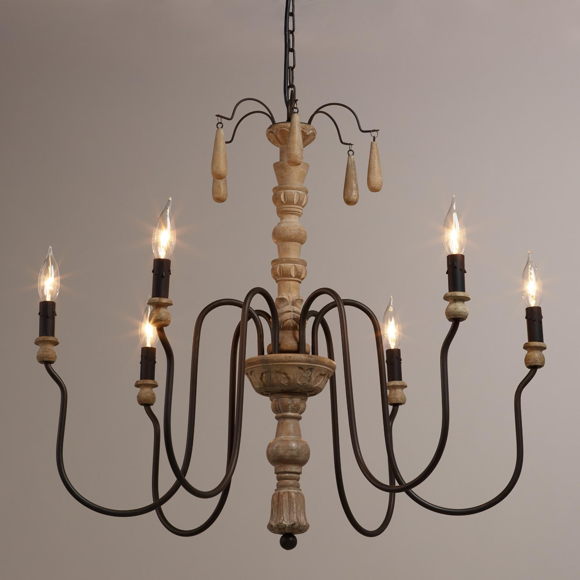 Wood Beaded Corinne Chandelier Pedestal Master Bedrooms And Regarding French Wooden Chandelier (Image 15 of 15)