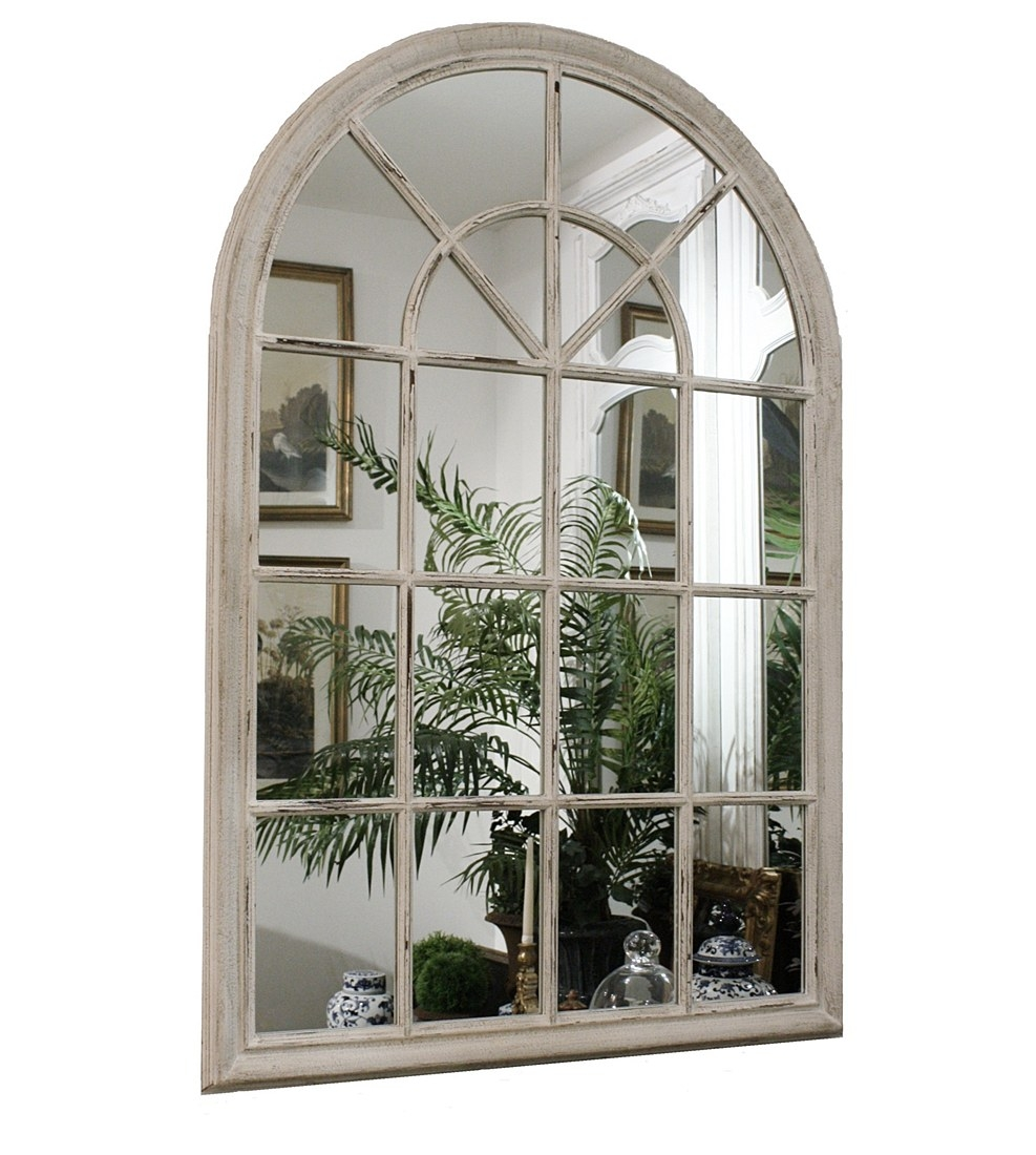 Wooden Arch White Painted Mirror Simply Wedding Gifts With White Arch Mirror (Image 15 of 15)