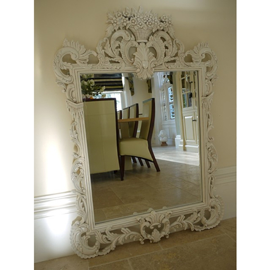 Wooden Large Mirrorsornate Mirrorsmirrors Uk Candle And Blue With Regard To White Ornate Mirrors (Image 15 of 15)
