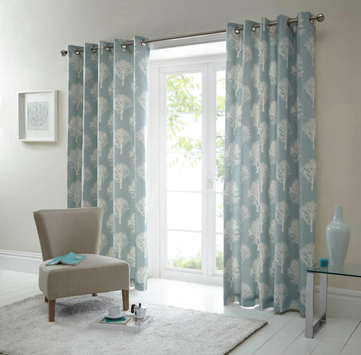 Woodland Ready Made Eyelet Curtains In Duck Egg Terrys Fabrics Intended For Cotton Eyelet Curtains (View 13 of 15)