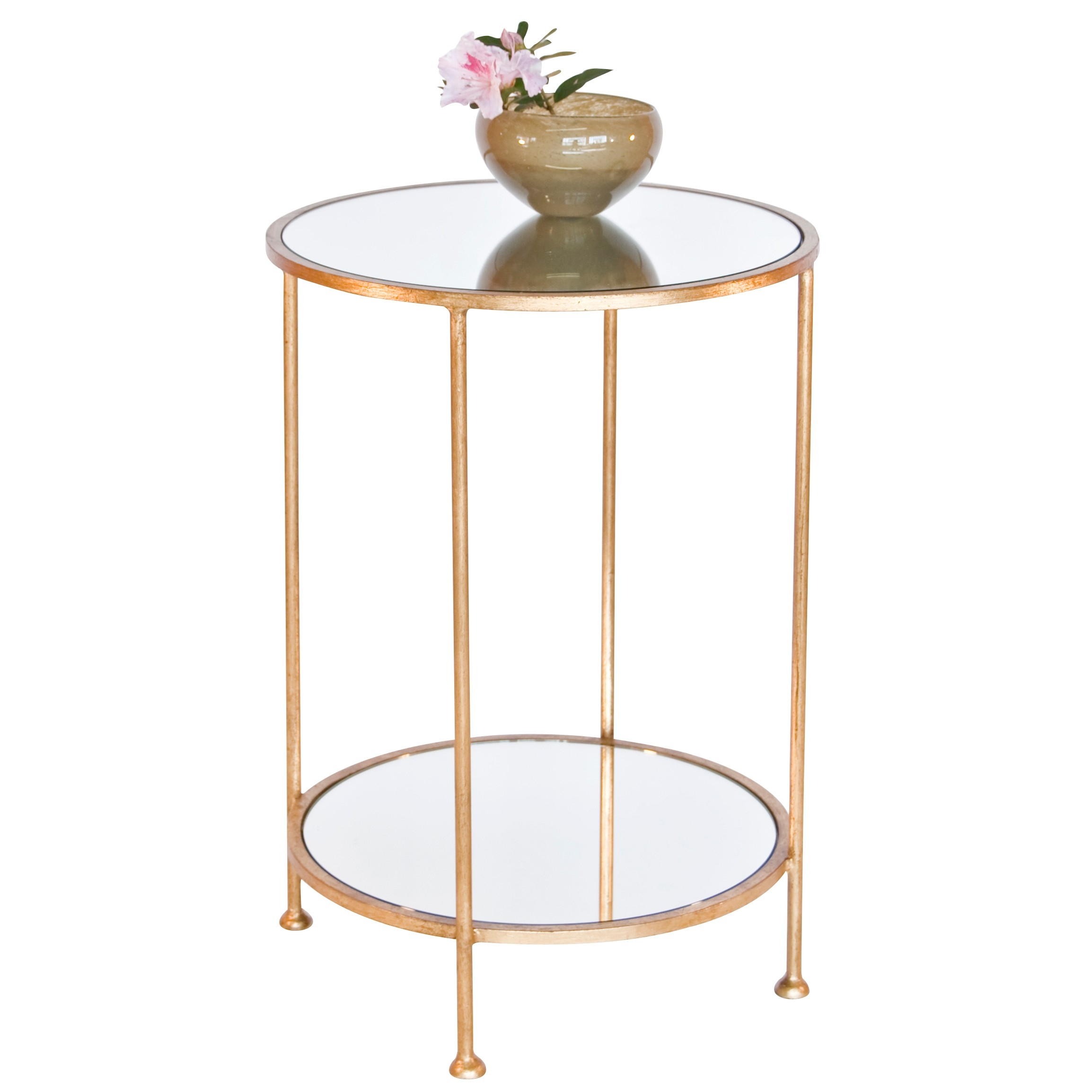 Worlds Away Chico Small 2 Tier Gold Leaf Side Table Mirror Top Throughout Small Table Mirror (Image 15 of 15)