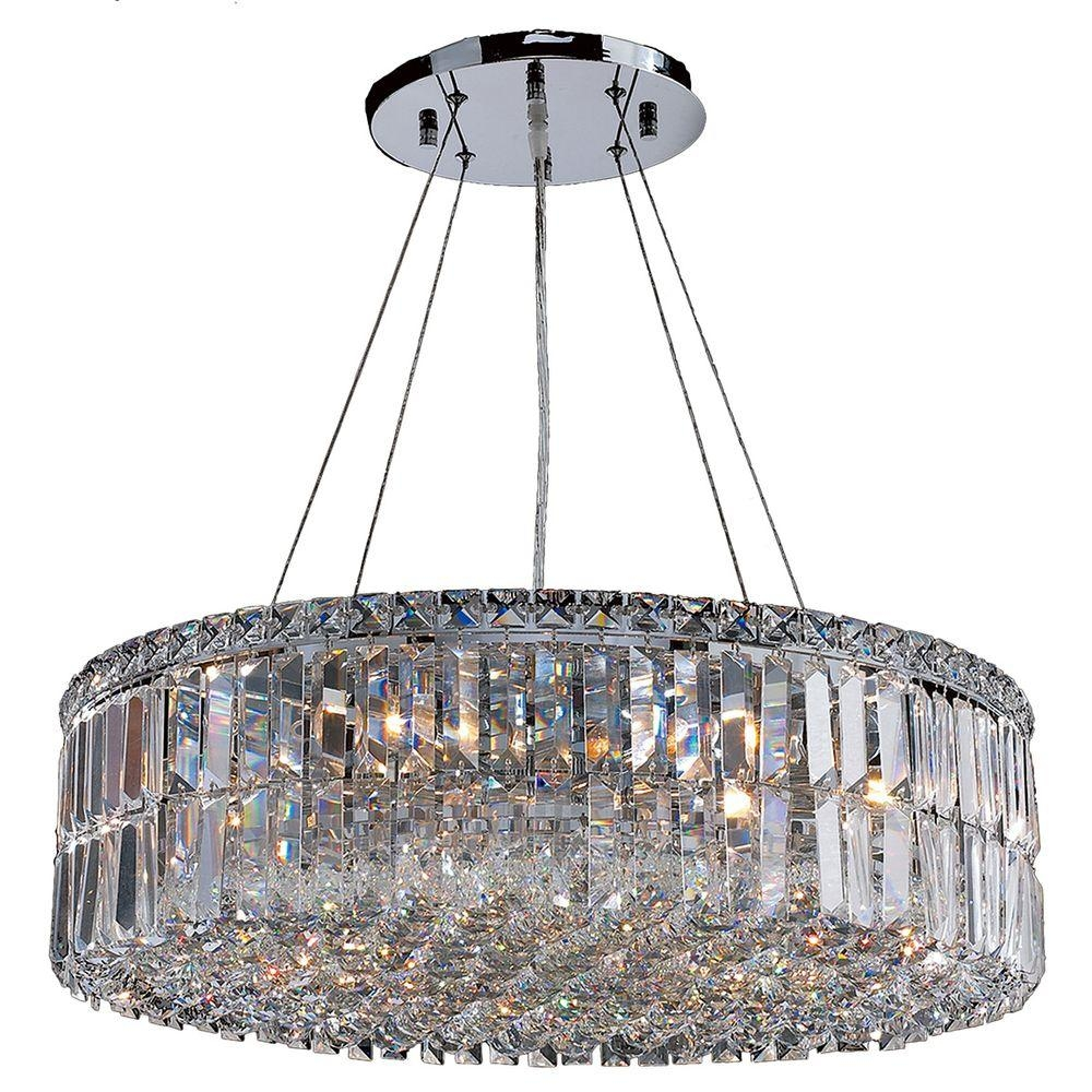 Worldwide Lighting Cascade Collection 12 Light Chrome Crystal Regarding Chrome And Crystal Chandelier (Photo 14 of 15)