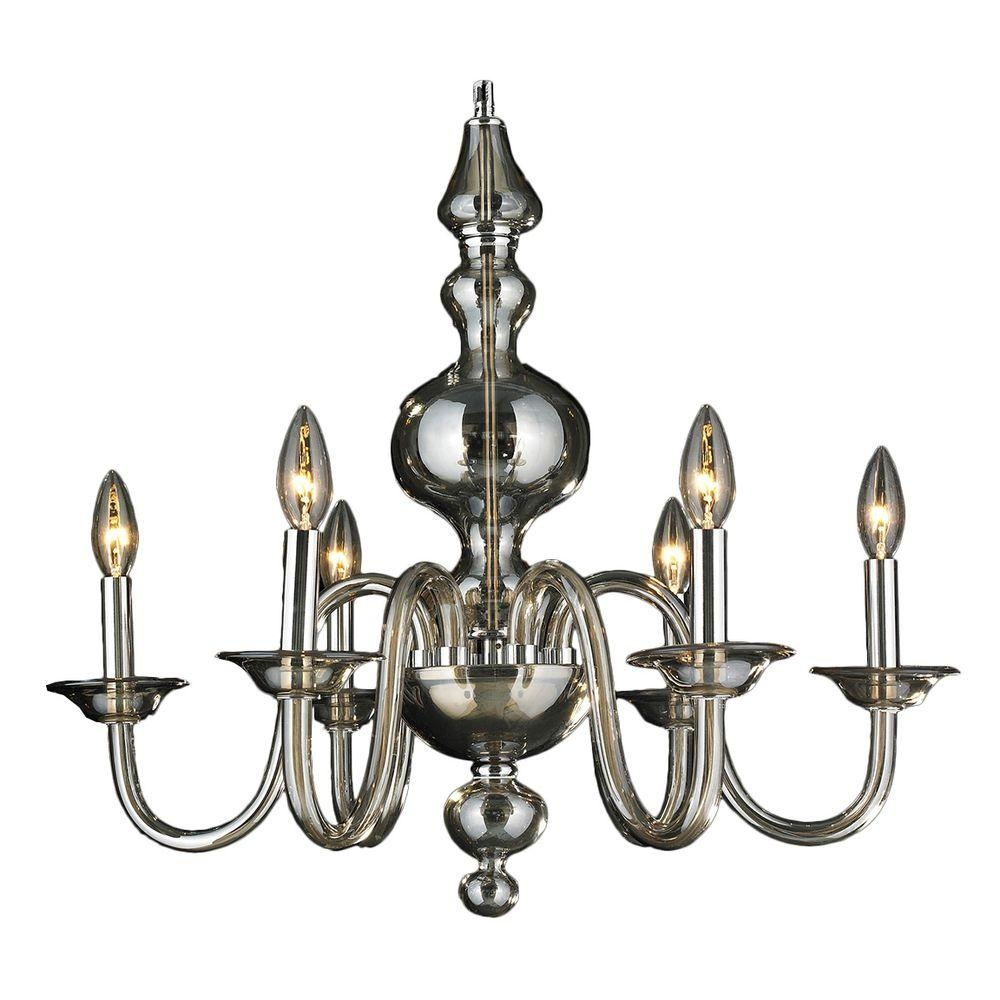 Worldwide Lighting Murano Collection 6 Light Polished Chrome Hand Inside Chrome And Glass Chandelier (Image 14 of 15)