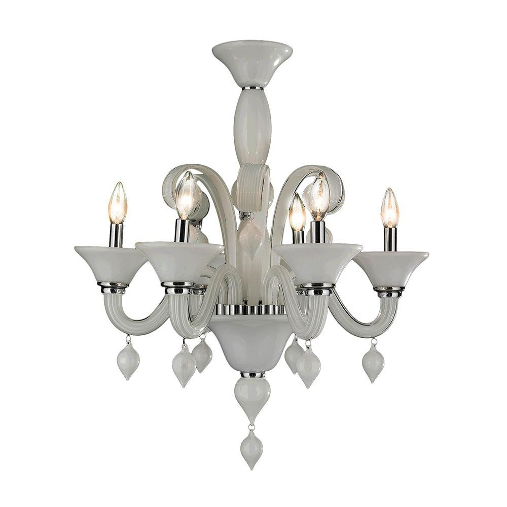 Worldwide Lighting Murano Venetian Style 6 Light Polished Chrome In Chrome And Glass Chandelier (Photo 5 of 15)