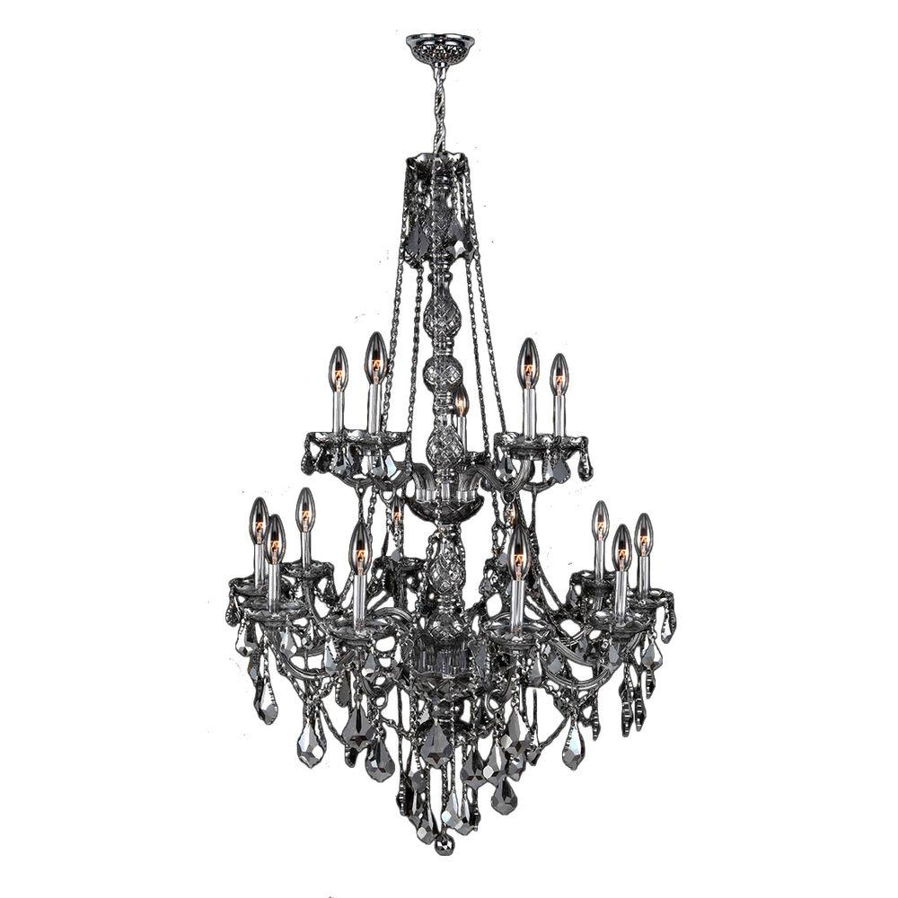 Worldwide Lighting Provence 15 Light Polished Chrome With Smoke Inside Grey Crystal Chandelier (Image 15 of 15)