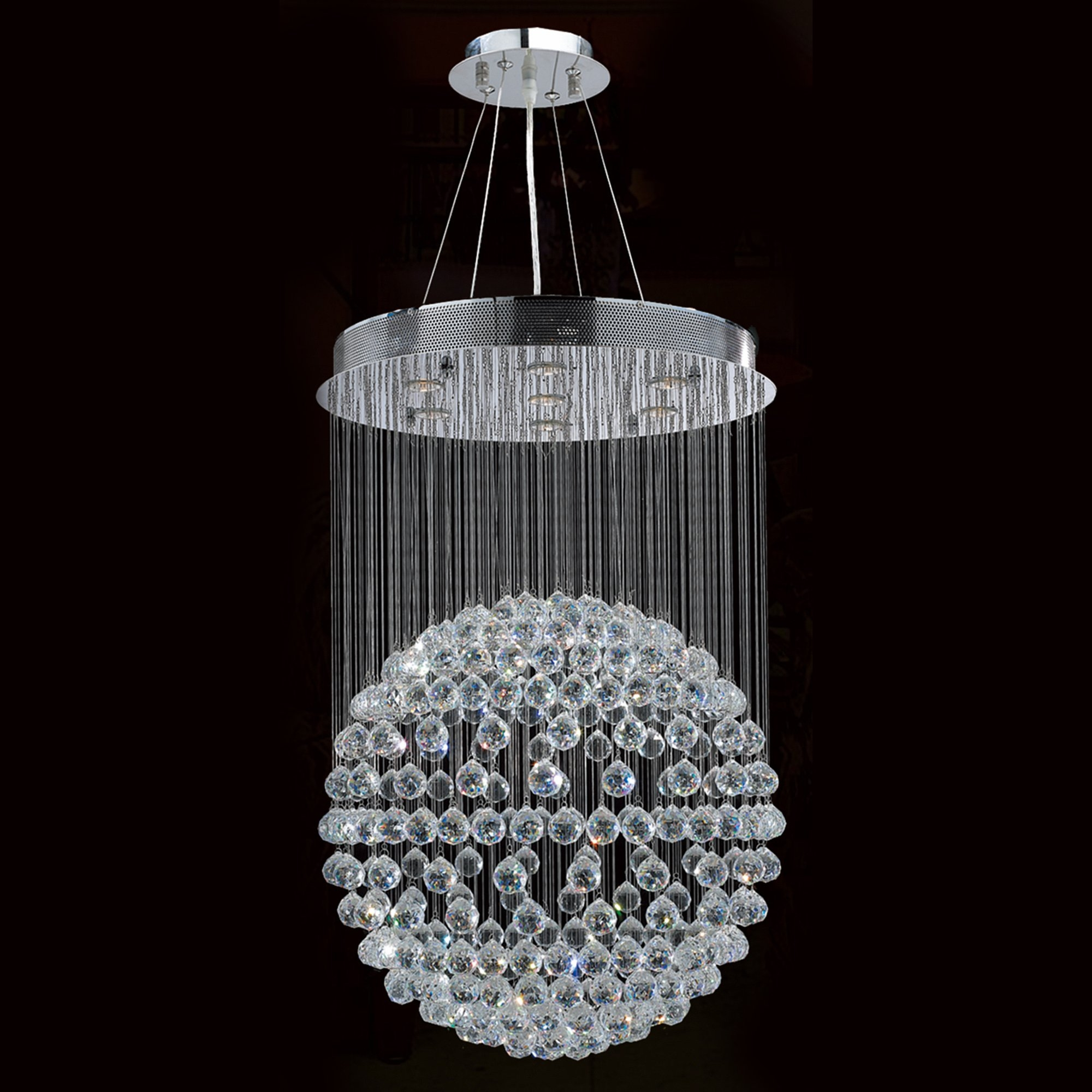 Worldwide Lighting Saturn 7 Light Crystal Chandelier Reviews With Waterfall Crystal Chandelier (Image 15 of 15)