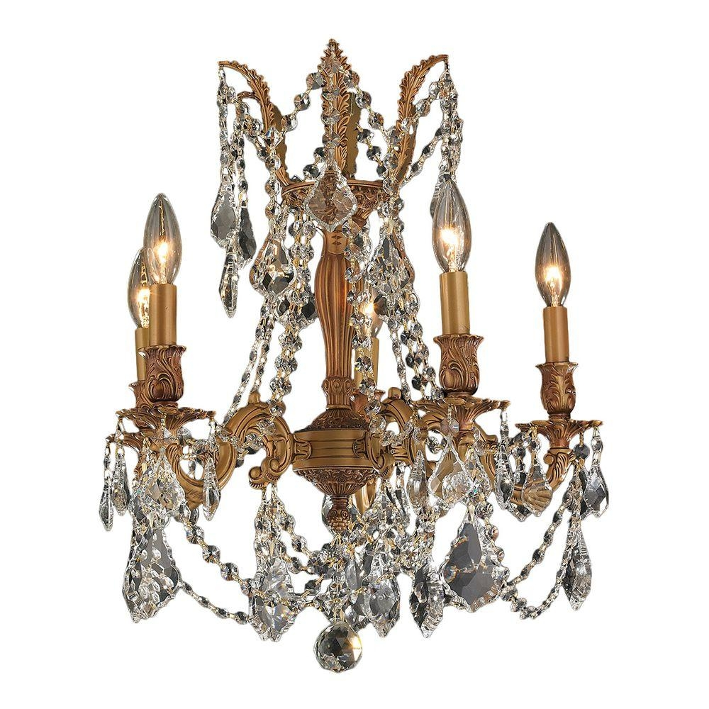 Worldwide Lighting Windsor Collection 5 Light French Gold And Intended For French Gold Chandelier (Image 12 of 14)